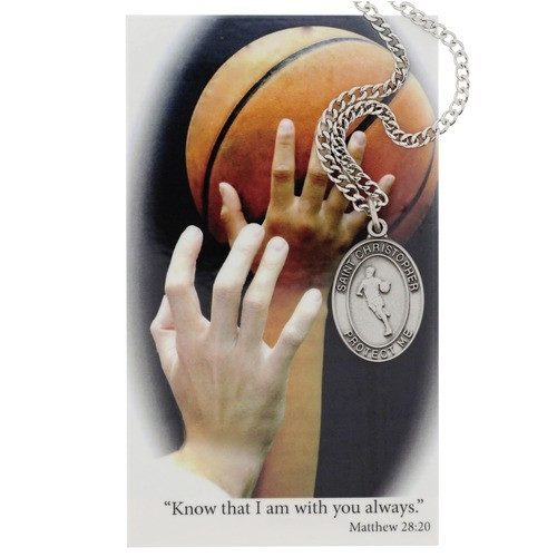 Basketball Sports Medal with Prayer Card - Boys
