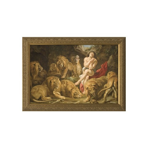 Daniel in the Lions' Den w/ Gold Frame