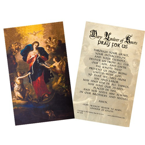 Mary Undoer of Knots Pope Francis' Prayer Card, Laminated Pack of 25