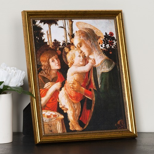 Botticelli Madonna & Child with St. John the Baptist Gold Framed Print