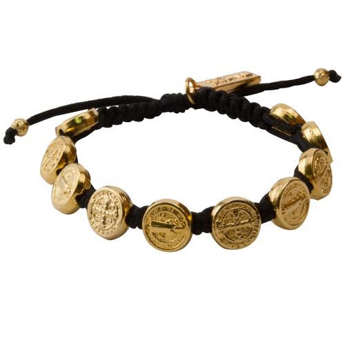 Gold Benedictine Blessing Bracelet, Black Macrame
