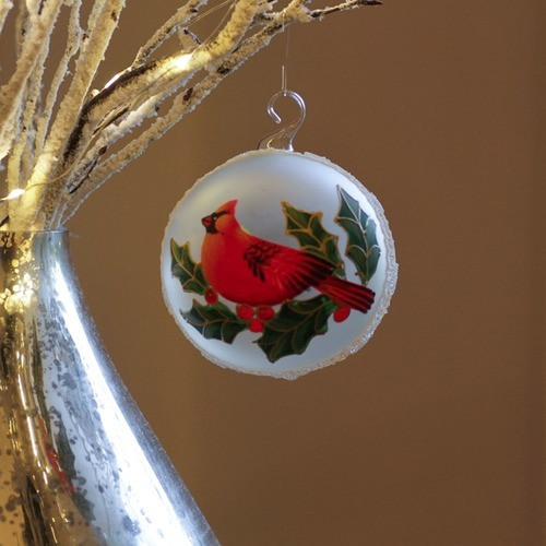 Cardinal Pearlized Round Glass Ornament