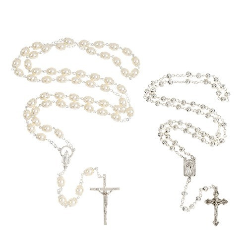 Mother & Child Silver Rosary Set