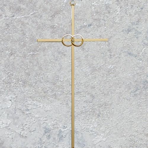 """Polished Brass Wedding Cross 8"""""""