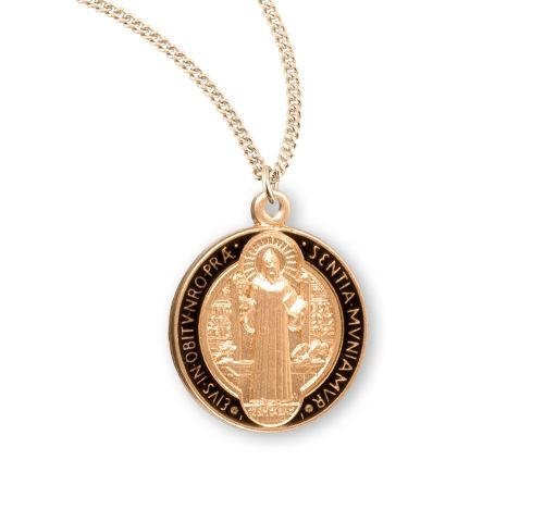 Gold/Sterling & Black St. Benedict Medal Necklace