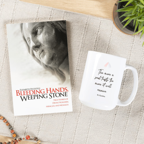 """Bleeding Hands, Weeping Stone & St. Faustina """"Trust"""" Quote Mug (Gift Set)"""