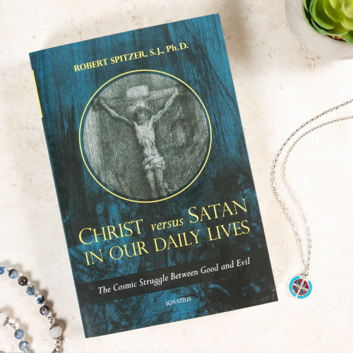 Christ Versus Satan in Our Daily Lives & St. Benedict Blue, Red, and Silver Medal on Chain (Gift Set)