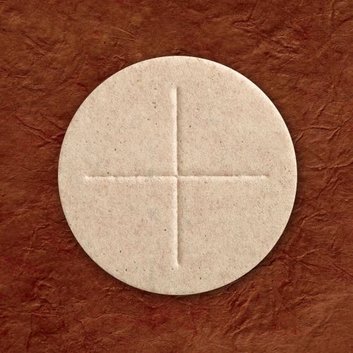 """2-3/4"""" Whole Wheat Communion Hosts with Cross, Box of 50"""