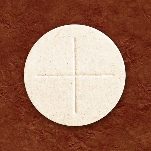 """2-3/4"""" White Communion Hosts with Cross, Box of 50"""