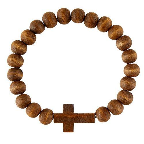 Dark Brown Wood Bead Cross Bracelet