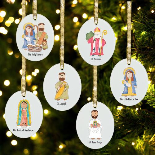 Junior Saints Glass Ornament Collection - Set of 6