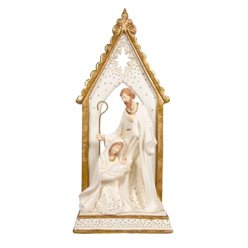 Holy Family Beneath White and Gold Arch with Nativity Star