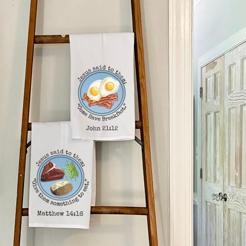 Set of Retro Scripture Dish Towels - 2 towels