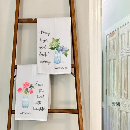 Set of Padre Pio Watercolor Dish Towels - 2 towels