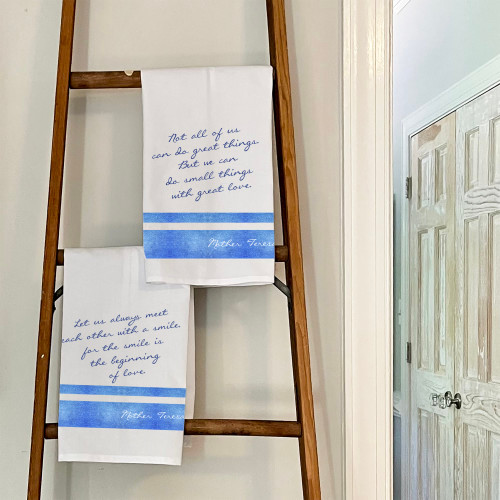Set of Mother Teresa Blue and White Dish Towels - 2 towels