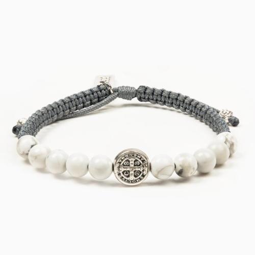 New Beginning Crystal Wake Up & Pray Bracelet Silver/Slate/White Howlite