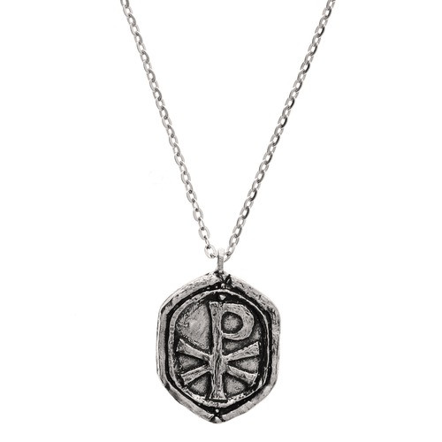 Chi Rho Cross Medal with Chain, Handmade Pewter