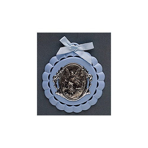 Guardian Angel Child's Crib Medal in Blue