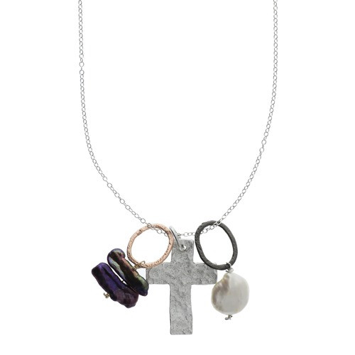 Cross Cluster Necklace with Bits of Pearls