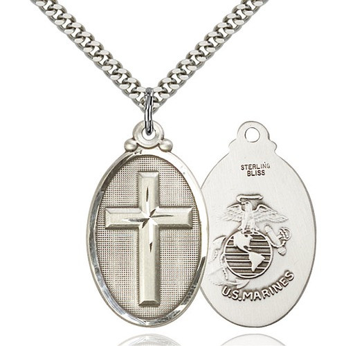 Cross Marines Pendant, Bliss, Sterling Silver