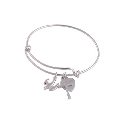 Dove Bangle Bracelet with Engravable Heart