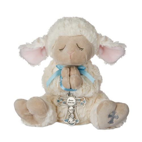 Lamb & Crib Cross for Boy - 2 Piece Set