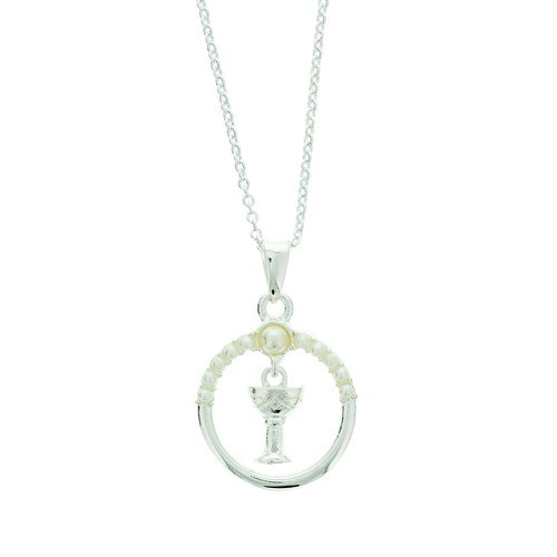 Chalice with Pearl Circular Pendant Necklace