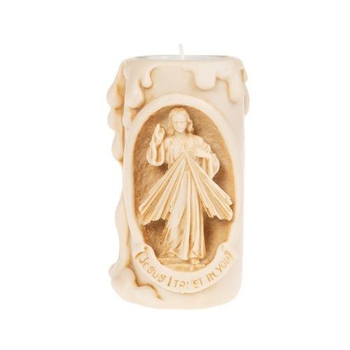 Divine Mercy Natural Finish Votive Holder