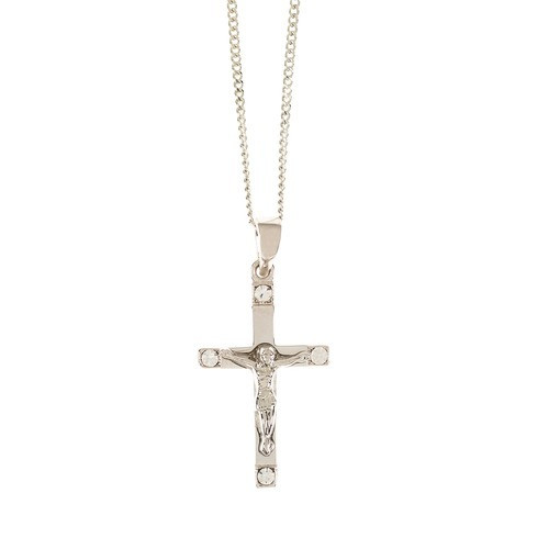 SS Crucifix w/ Crystals Necklace