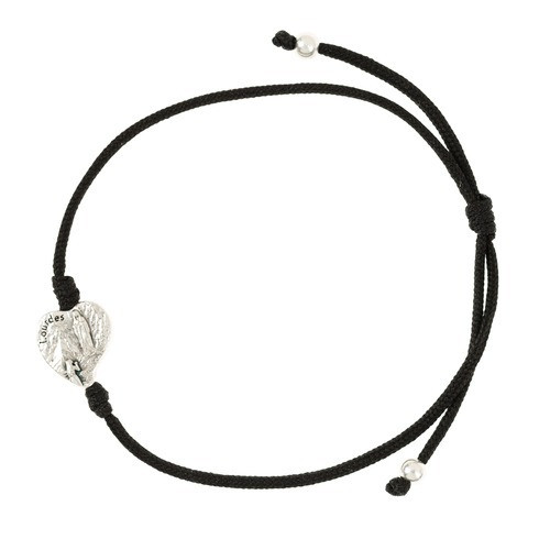 Lourdes Medal Black Corded Bracelet