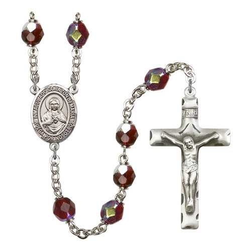 Corazon Inmaculado De Maria Red January Lock Link Aurora Borealis Rosary 7mm