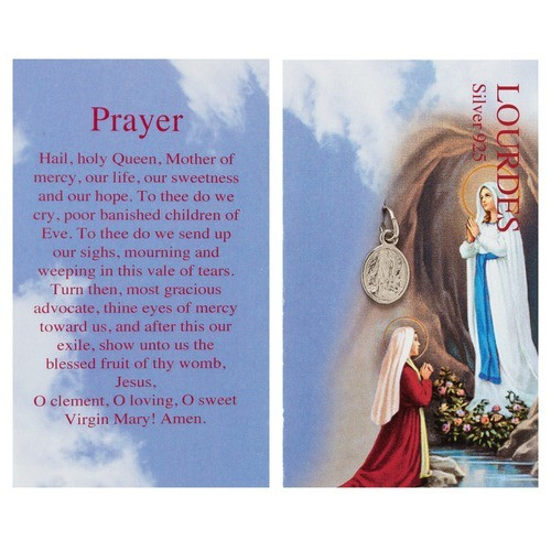 Our Lady of Lourdes Silver Medal with Prayer Card