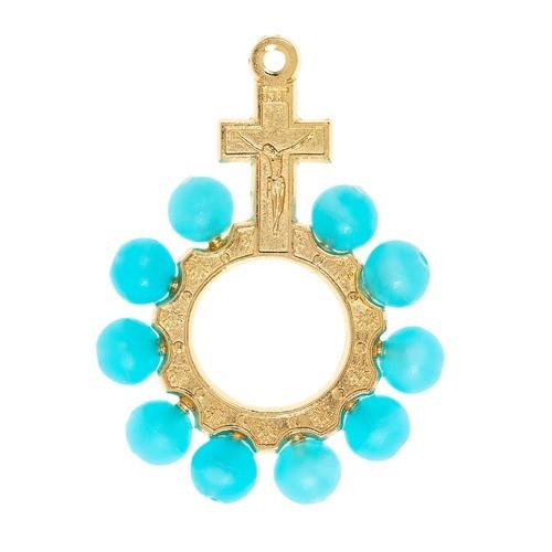 Aqua Bead Gold Finger Rosary