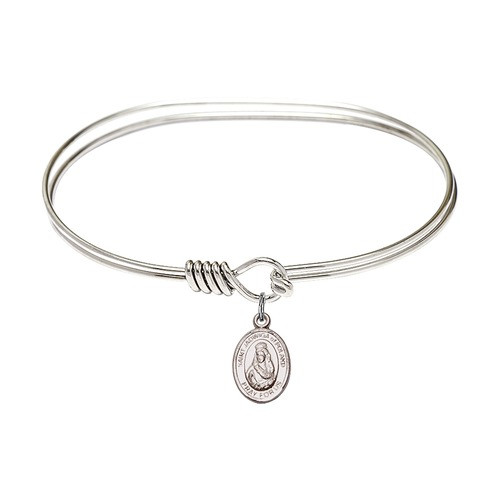 "Adult 7"" Oval  Rhodium Plated Bangle Bracelet with St. Jadwiga of Poland Medal Charm"