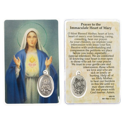 Immaculate Heart of Mary Prayer Card with Medal