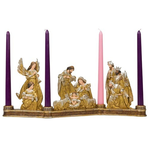 Metallic Nativity Advent Candleholder with Candles