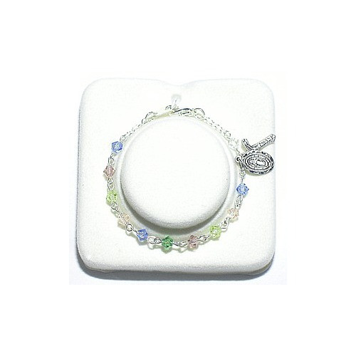 Multi-Color Baby Rosary Bracelet - Sterling Silver