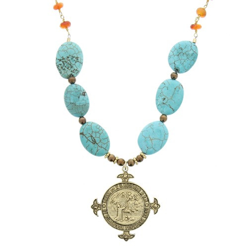 Antique Rosary Medal Turquoise Bead Necklace