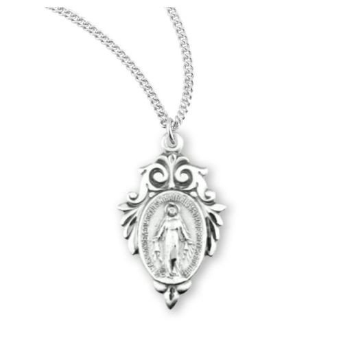 Sterling Baroque Miraculous Medal Necklace
