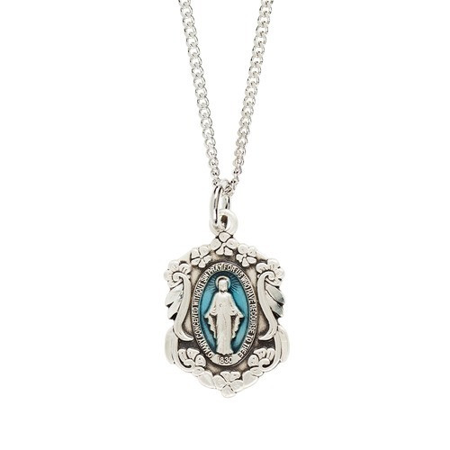Sterling Floral Miraculous Medal Necklace