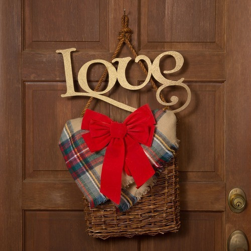 """Gold Holiday Wood Cut Out """"Love"""""""