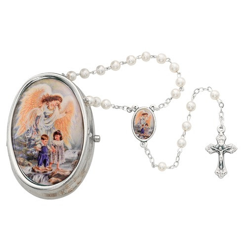 Guardian Angel Box with Pearlized Glass Rosary