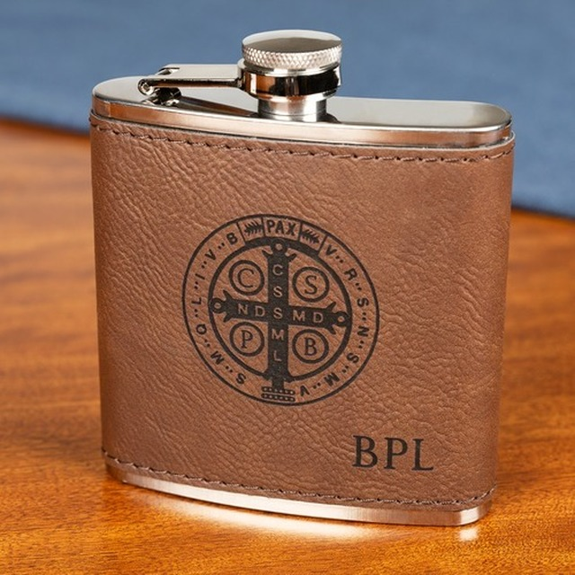 Personalized St. Benedict Flask