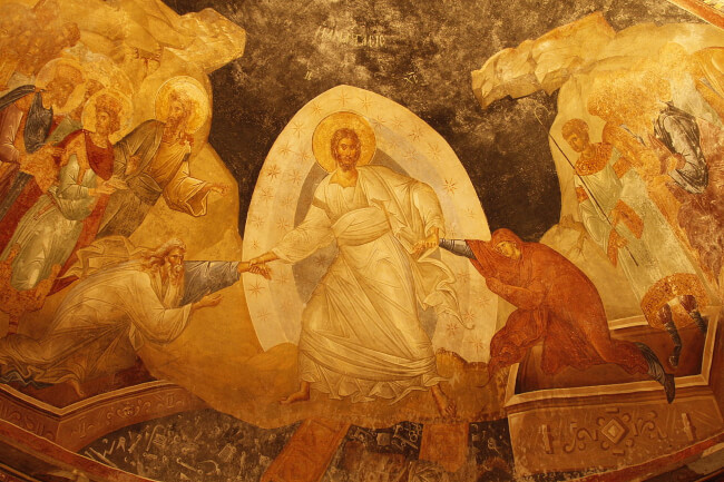 Liberation from hell. Byzantine fresco.