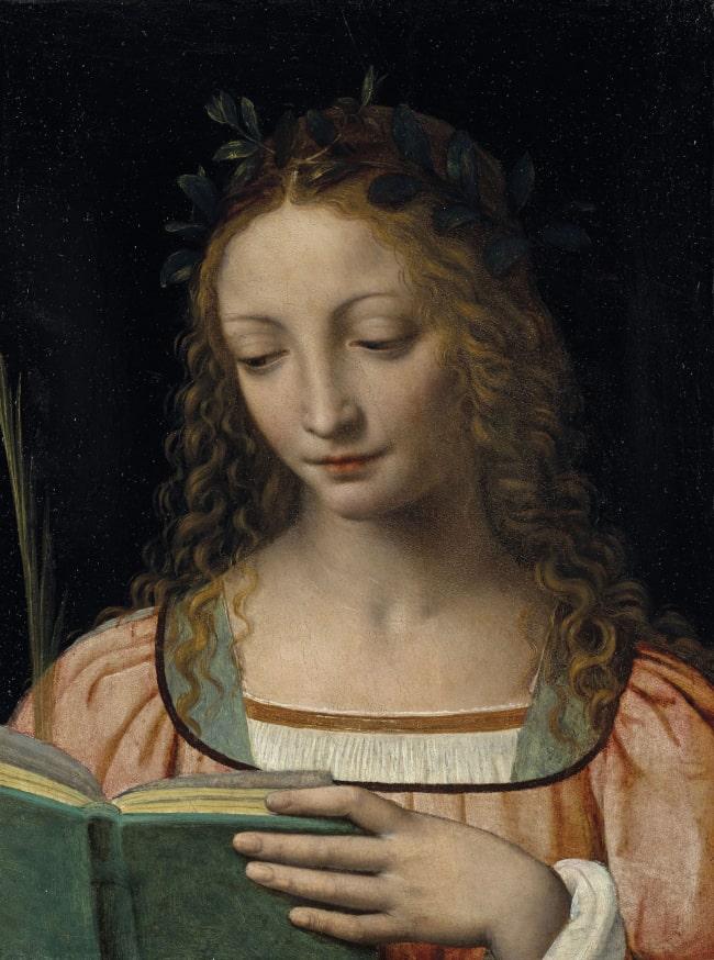 Holy Woman Reading. Painting by Bernardino Luini.