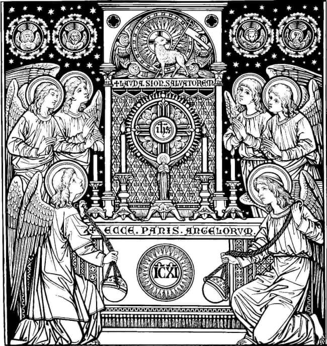 Angels adoring the Blessed Sacrament. Art circa 1900.