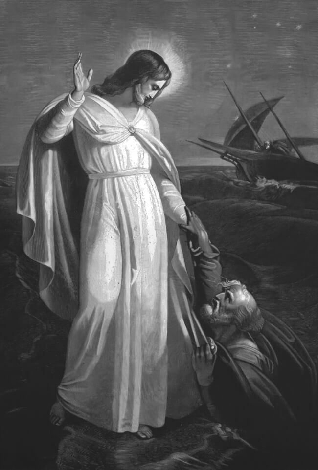Jesus saving Peter from sinking into the sea