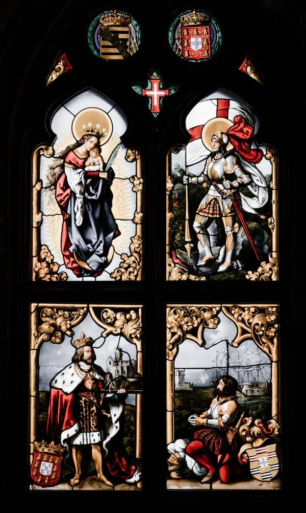 Stained glass window - holy warriors