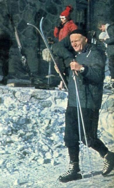 Pope John Paul II skiing