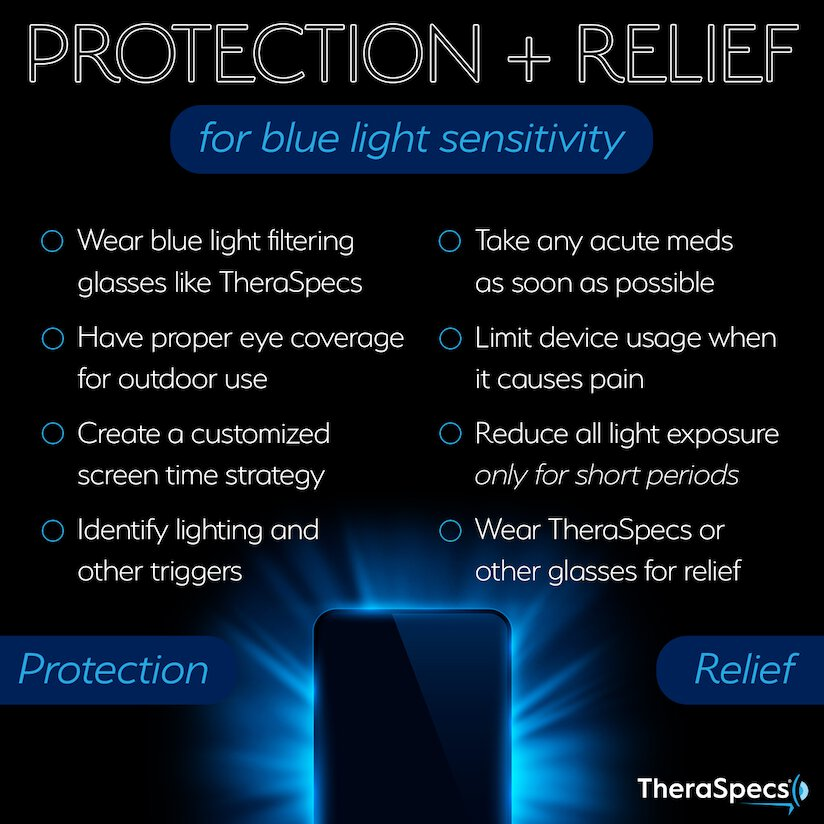 Infographic of of protection and relief strategies for blue light sensitivity